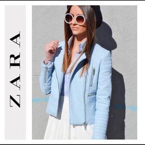 NWT ZARA faux pastel blue Moto biker zipup jacket